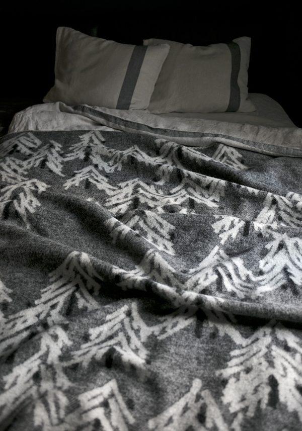wollen deken grijs wit